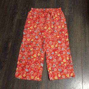 LOFT Red Floral Print Wide Leg Pant